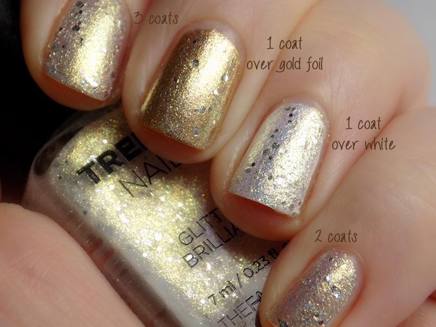 thefaceshop Trendy Nails Glitter GLI003 swatch white gold