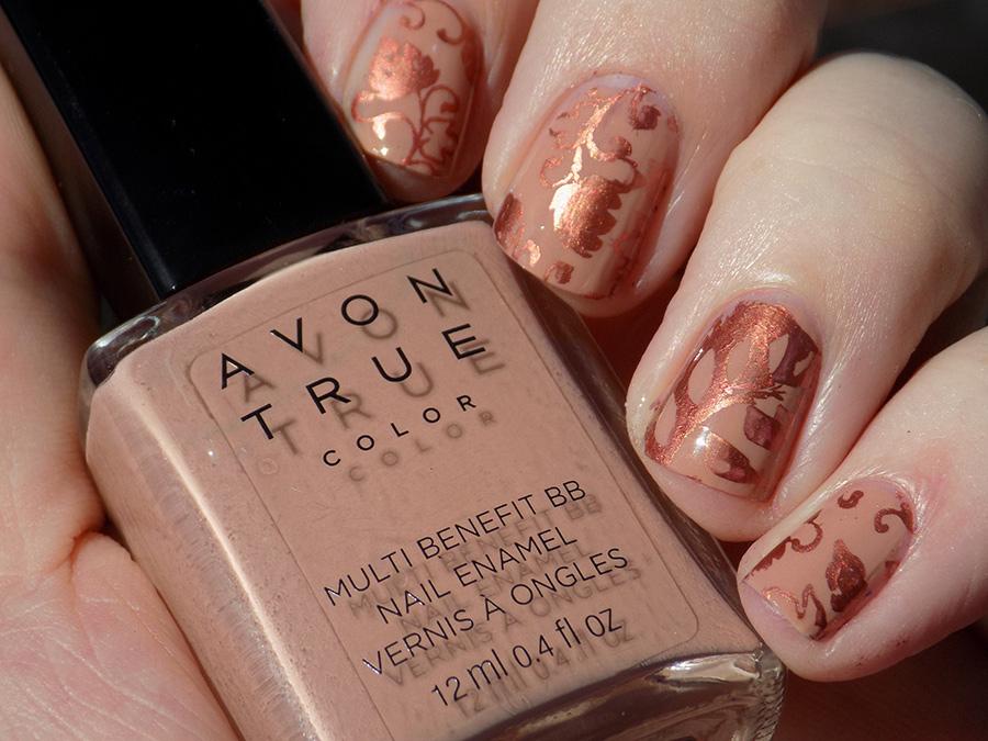 Avon True Color BB Nail Enamel Restoring Beige Stamped with MDU Copper in Sunlight