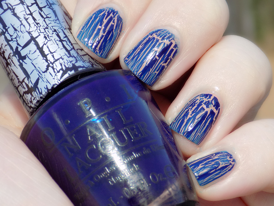 OPI Navy Shatter Swatches Over Beige