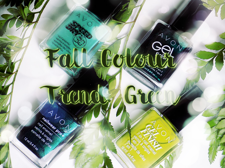 Avon Fall Trends - Green Nail Polishes - Citronized - Turquoise Pop - Noir Emerald - Envy
