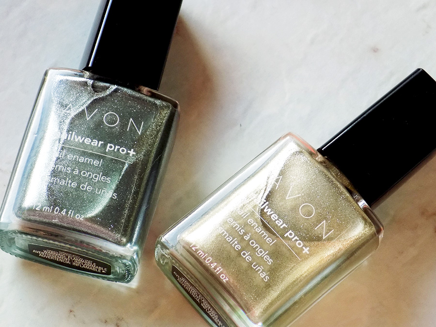Avon Nailwear Pro+ Metallics Gold Dust and Green Sheen Swatch & Review