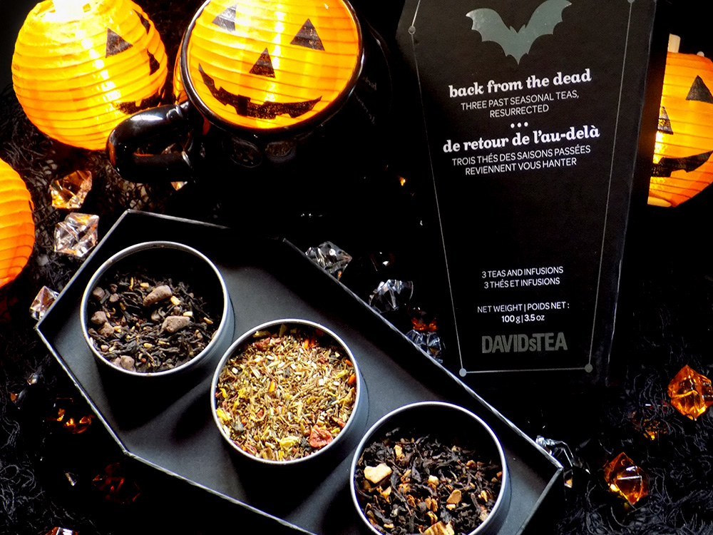 DavidsTea Halloween Teas - 2016 Back From The Dead Halloween Coffin Teas - Swampwater, Stormy Night, Maple Sugar