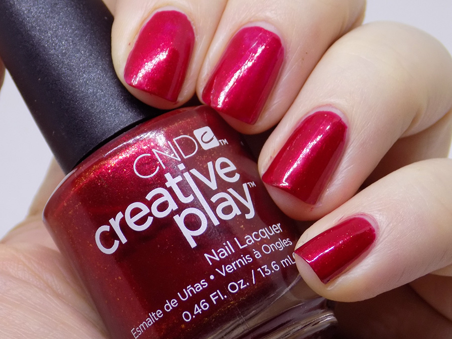 CND Creative Play - Crimson Like Its Hot Review and Swatches - Swatches Artificial Light