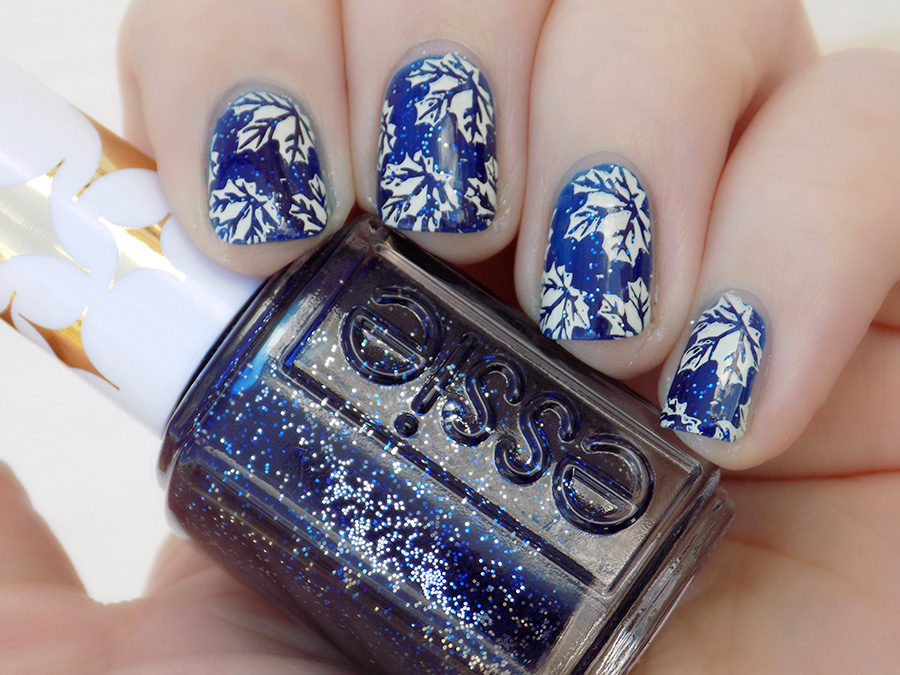 Toronto Maple Leafs Nail Art with Essie Starry Starry Night - BP-L024 and MdU Bones - swatch natural shade