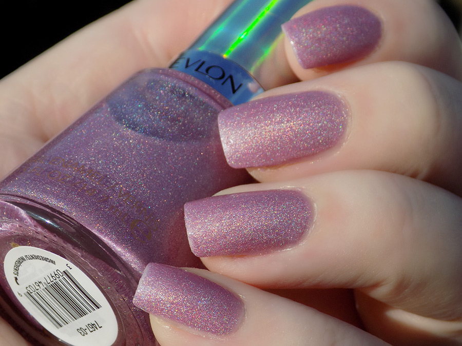Revlon Galactic Pink Holographic Polish Swatches Holochrome Collection 2017 - Swatch in Sunlight